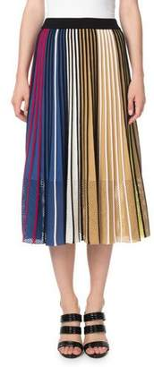 Kenzo Vertical-Stripe Pleated Mesh Midi Skirt