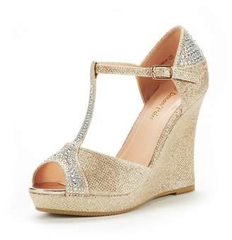DREAM PAIRS Women's Angeline-02 Silver Glitter Fashion Dress Wedges Platform Heel Peep Toe Wedding Pumps Sandals