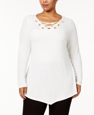 Belldini Plus Size Lace-Up V-Hem Tunic