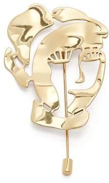 Ellery Gold-plated face brooch