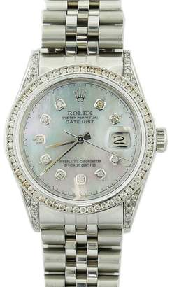 Rolex Date 16030 Stainless Steel Custom Grey Mother Of Pearl Dial with Diamond Lugs Jubilee Bracelet 36mm Mens Watch 1987