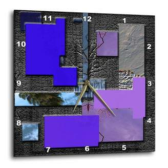 3dRose Blue, Purple, Lilac and Chrome with Raised Rectangles to look Modern, Wall Clock, 15 by 15-inch