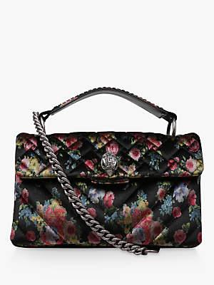 Kurt Geiger Kensington Fabric Shoulder Bag, Black Floral