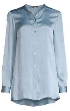 Eileen Fisher Mandarin Collar Silk Shirt