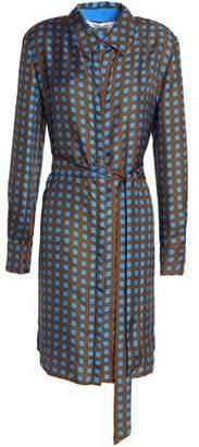 Diane von Furstenberg Belted Printed Silk-Twill Shirt Dress