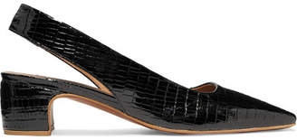 BY FAR - Danielle Lizard-effect Patent-leather Slingback Pumps - Black