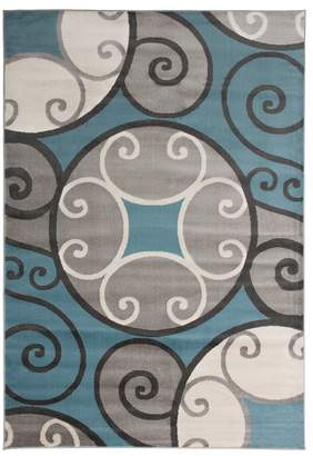 Blue Area World Rug Gallery Toscana Modern Scroll Circles Rug