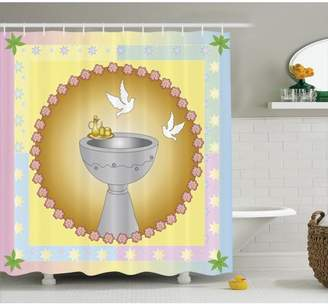 Baptism Decorations Baptism Theme Colorful Leaves Stars Background Chalice And Pair Of Pigeons In Floral Medallions Shape, Bathroom Accessories, 69W X 84L Inches Extra Long, By Ambesonne
