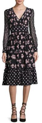 Kate Spade New York Long-Sleeve Floral Silk Midi Dress, Black $478 thestylecure.com