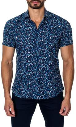 Jared Lang Butterfly Print Short Sleeve Trim Fit Shirt