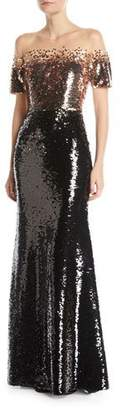 Sachin + Babi Fiona Off-the-Shoulder Sequin Gown w/ Sheer Yoke
