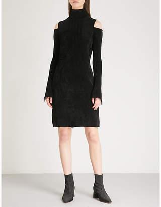 Mo&Co. Cold-shoulder velvet dress