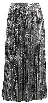 MSGM Women's Sequin Pleated Midi Skirt