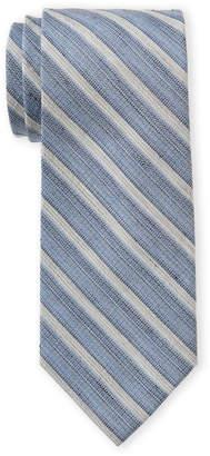 Calvin Klein Navy Silk & Linen-Blend Tie