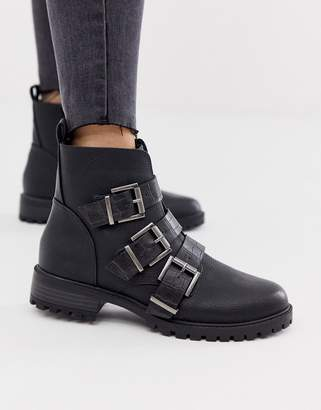New Look croc strap flat boots in black