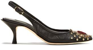 Dolce & Gabbana Heart-embellished mesh and leather slingback pumps