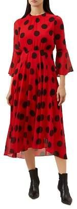 Hobbs London Lilia Polka Dot Midi Dress