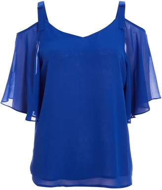 Dorothy Perkins Womens *Quiz Royal Blue Chiffon Cold Shoulder Bow Top