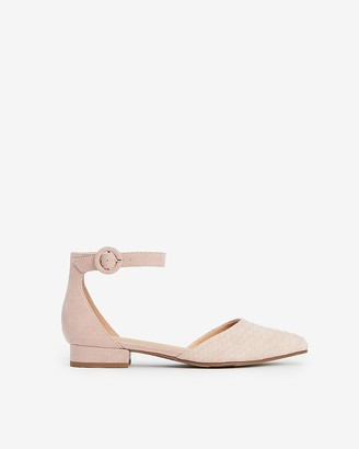 Express Textured Ankle Strap Low Heeled Flats