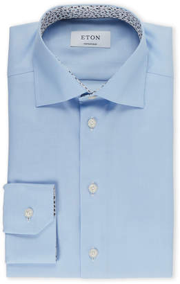 Eton Light Blue Contemporary Herringbone Dress Shirt