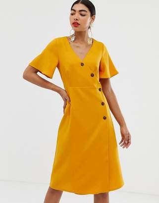 UNIQUE21 short sleeve button wrap dress