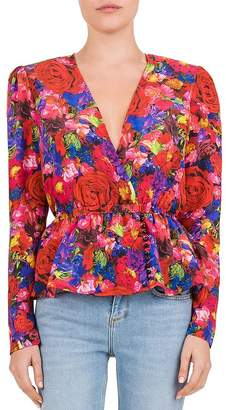The Kooples Summer Night Floral Silk Blouse
