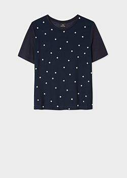 Paul Smith Women's Navy Polka Dot Modal T-Shirt