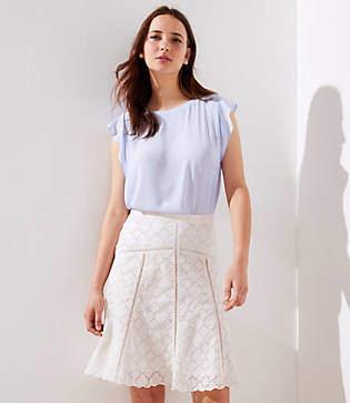 LOFT Petite Cutout Eyelet Skirt