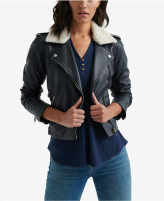 Lucky Brand Sherpa-Collar Leather Jacket
