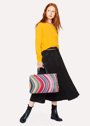 Paul Smith Women's Black Wool-Blend Skirt With 'Sun' Jacquard