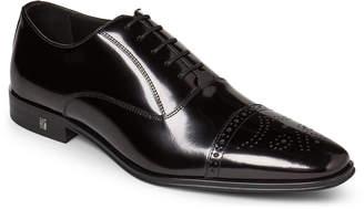 Versace Black Medallion Cap Toe Leather Oxfords