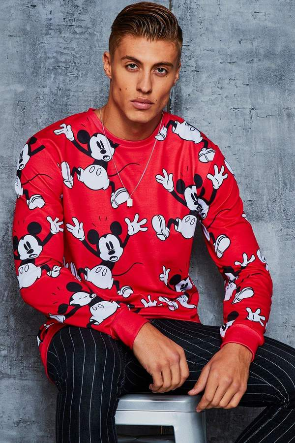 Disney All Over Mickey Print Sweater