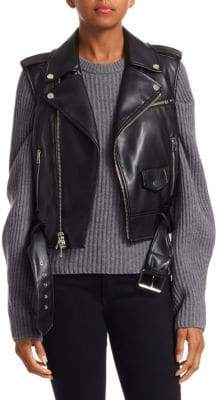 Theory Faux Leather Moto Vest