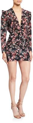 IRO Merca Long-Sleeve Plunging Floral Mini Dress