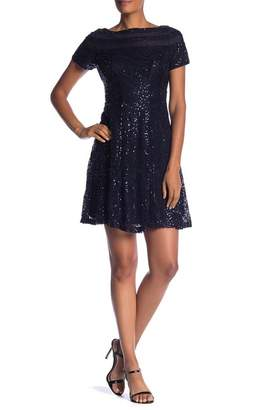 Sandra Darren Sequined Short Sleeve Dress