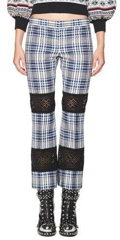 Alexander McQueenAlexander McQueen Celtic-Check Lace-Inset Kick Crop Pants, Multi