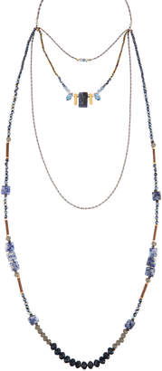 Nakamol Beaded Four-Layer Rectangle Stone Necklace