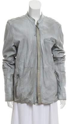 Edun Short Leather Coat Grey Short Leather Coat