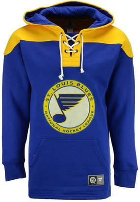 Majestic Men St. Louis Blues True Classics Fleece Lace-Up Hoodie