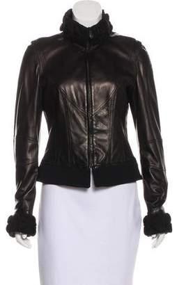 Etro Leather Zip-Up Jacket