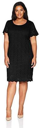 Ronni Nicole Women's Plus Size Short Sleeve Medallion Lace Sheath