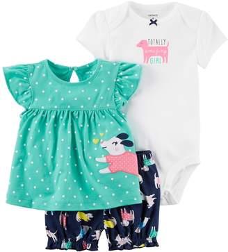 Carter's Baby Girl Polka-Dot Top, Graphic Bodysuit & Dog-Print Shorts Set