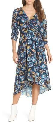 Eliza J Floral High\u002FLow Faux Wrap Dress