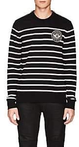 Balmain Men's Striped Cotton Terry Sweatshirt-Black