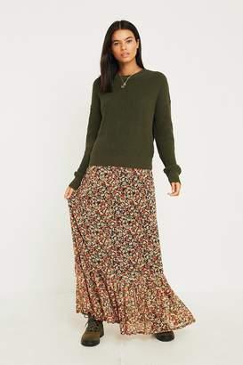 Urban Outfitters Floral Drop Peplum Maxi Skirt