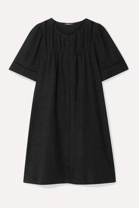Madewell Crochet-trimmed Pintucked Voile Mini Dress - Black