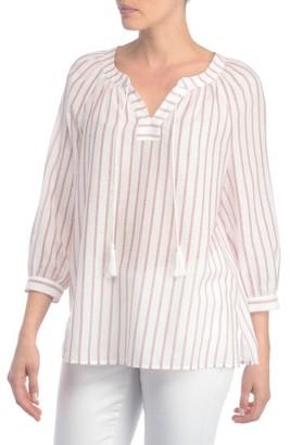 Women's Nydj Stripe Cotton Split Neck Top $98 thestylecure.com