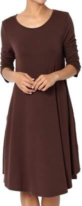 Ash TheMogan Women's 3/4 Sleeve Trapeze Knit Pocket T-Shirt Dress Dusty Rose 1XL