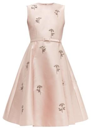 Erdem Angelica Beaded Mikado Knee Length Dress - Womens - Light Pink