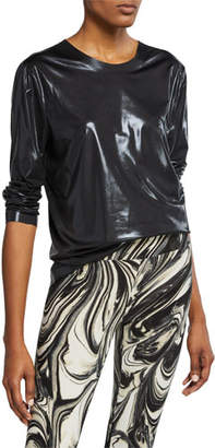 Norma Kamali Long-Sleeve Metallic Crewneck Top